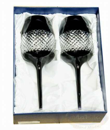 Czarne kryształowe kieliszki do wina 2 sztuki