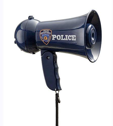 Dress Up America Megafon dla dzieci - Megafon pretend Play policyjny - róg byka z dźwiękiem syreny