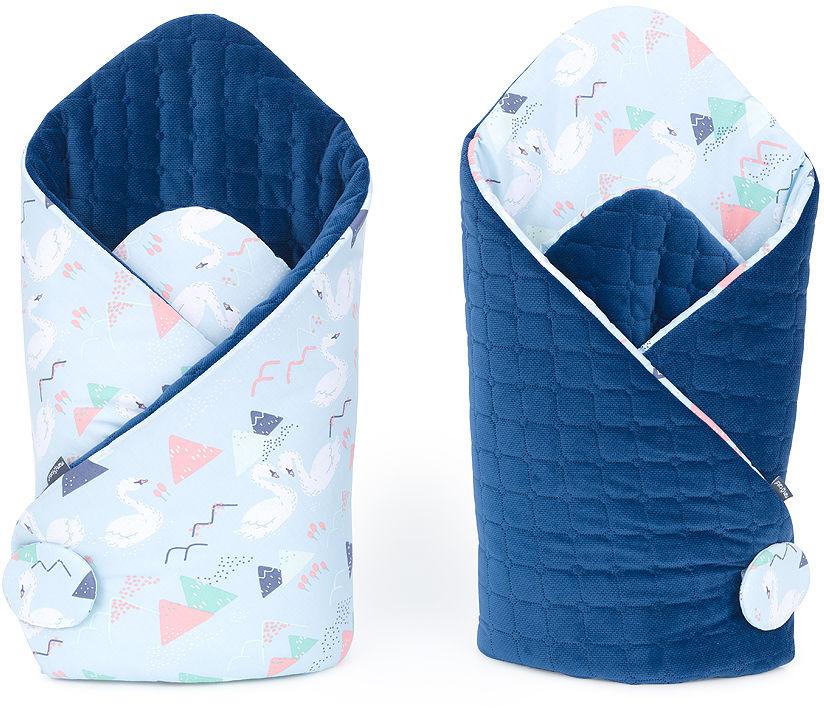 MAMO-TATO Rożek niemowlęcy dwustronny velvet Łabędzie błękitne / granatowy