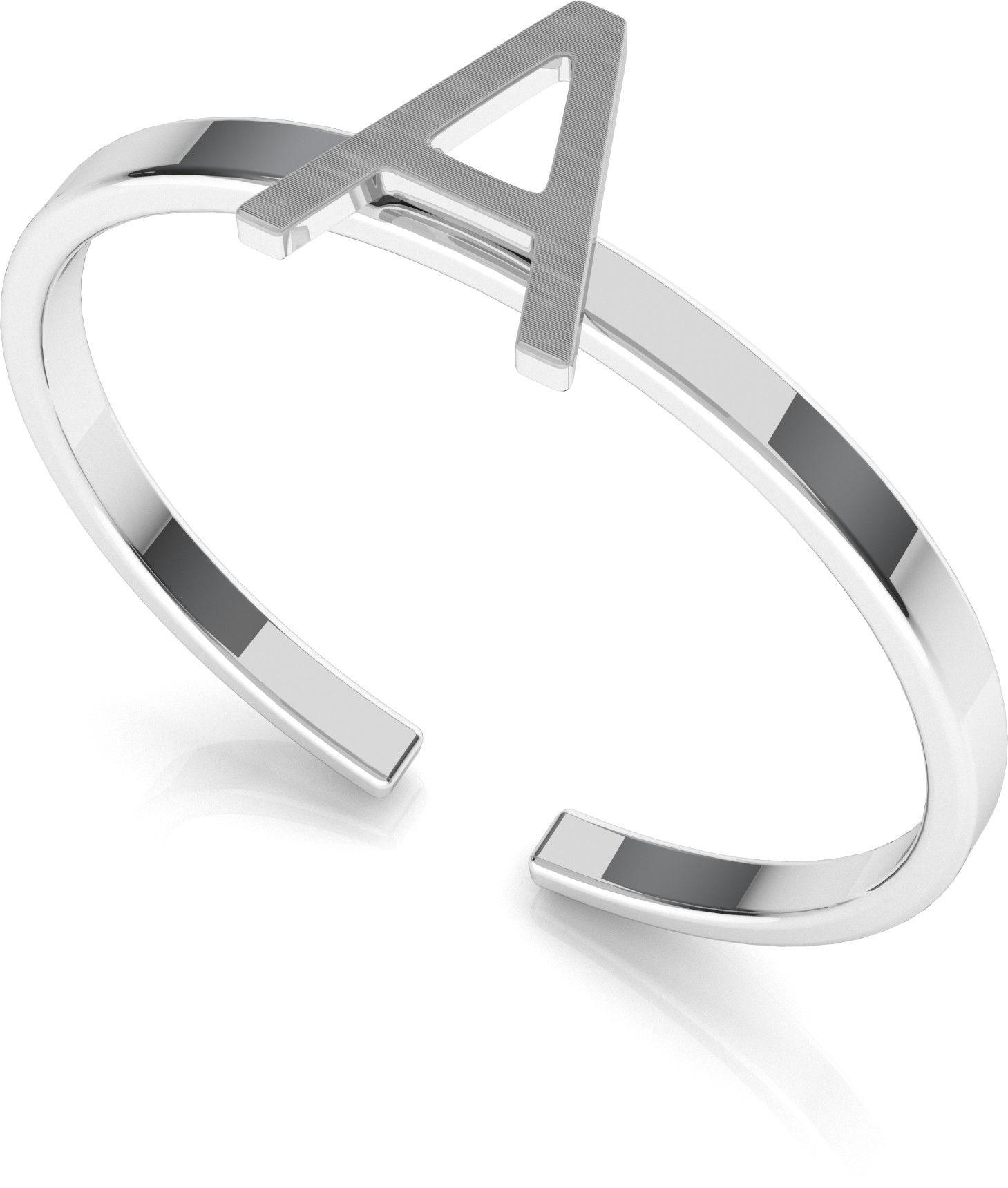 Srebrny pierścionek z literką My RING, srebro 925 : Litera - A, Srebro - kolor pokrycia - Pokrycie platyną