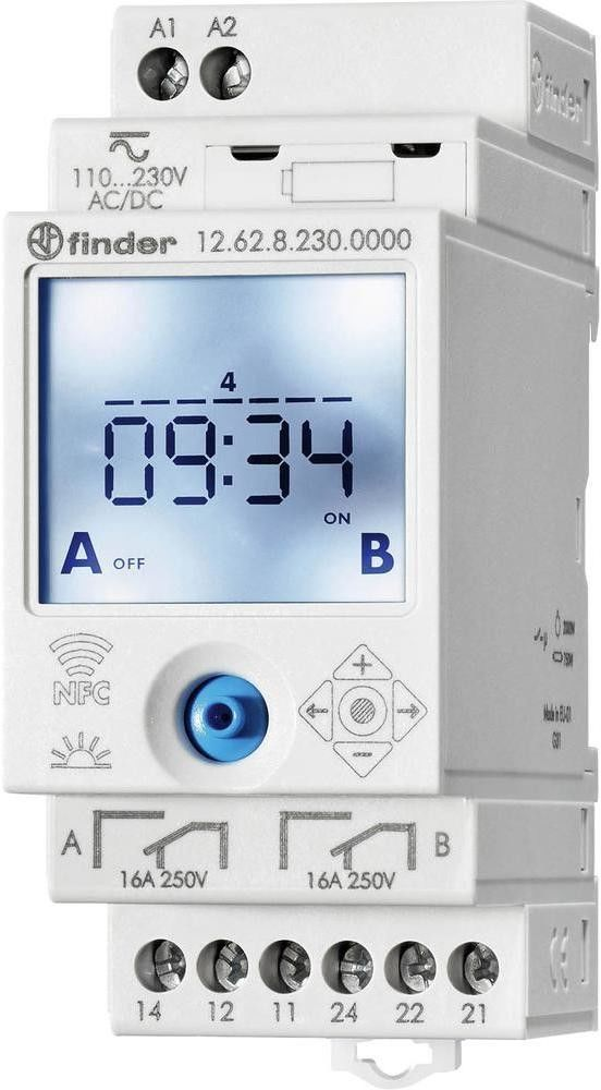 Zegar sterujący elektroniczny NFC Finder 12.62.8.230.0000 Zegar sterujący elektroniczny NFC 2CO 230V AC Finder 12.62.8.230.0000
