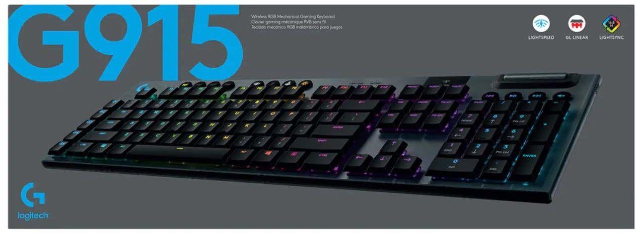 Logitech G915 Lightspeed Wireless Rgb Mechanical Gaming Keyboard, Bezprzewodowa Mechaniczna Klawiatura Do Gier Lightspeed Wireless Rgb, Linear Przełączniki,Pc/Mac - Czarny,920-008962