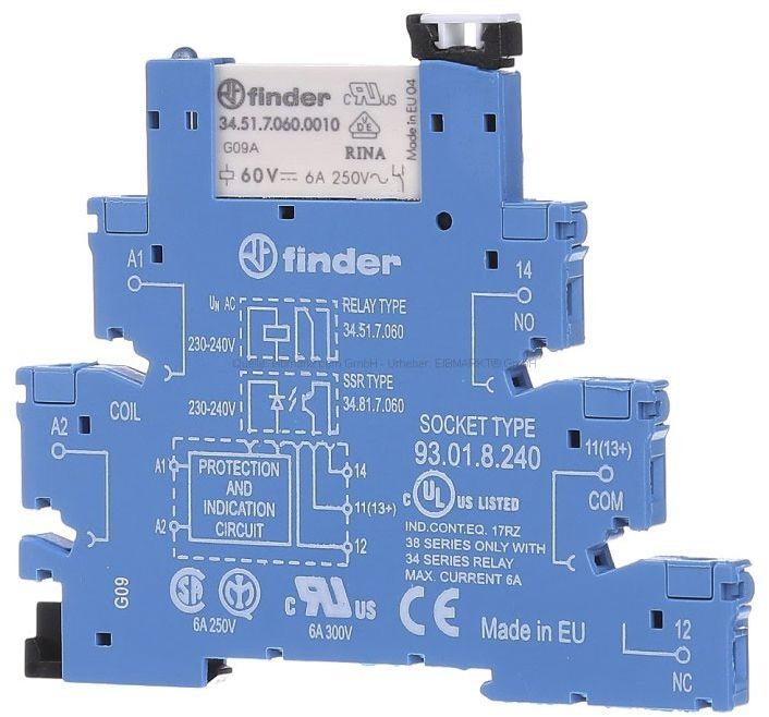 Przekaźnikowy moduł sprzęgający Finder 38.51.8.240.0060 Moduł sprzęgający, przełączny 1CO (SPDT) 6 A AgNi 220 240 V AC Finder 38.51.8.240.0060