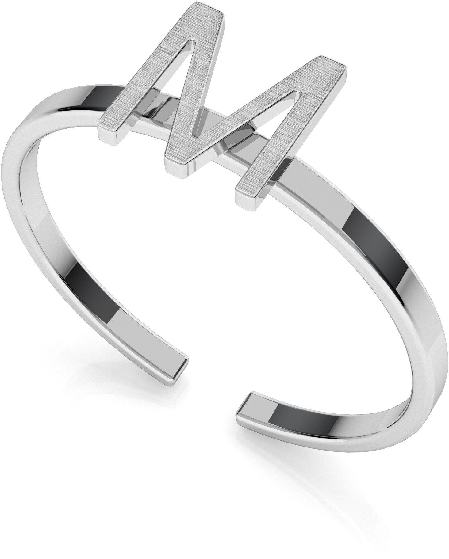 Srebrny pierścionek z literką My RING, srebro 925 : Litera - M, Srebro - kolor pokrycia - Pokrycie platyną