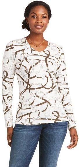 Koszulka damska z długim rękawem BRIDLE PRINT - Ariat - sea salt