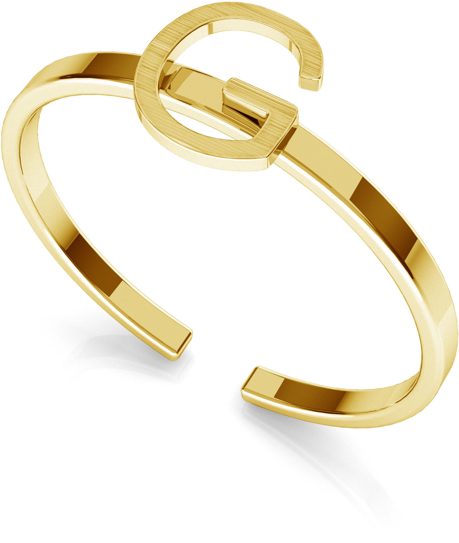 Srebrny pierścionek z literką My RING, srebro 925 : Litera - G, Srebro - kolor pokrycia - Pokrycie żółtym 18K złotem