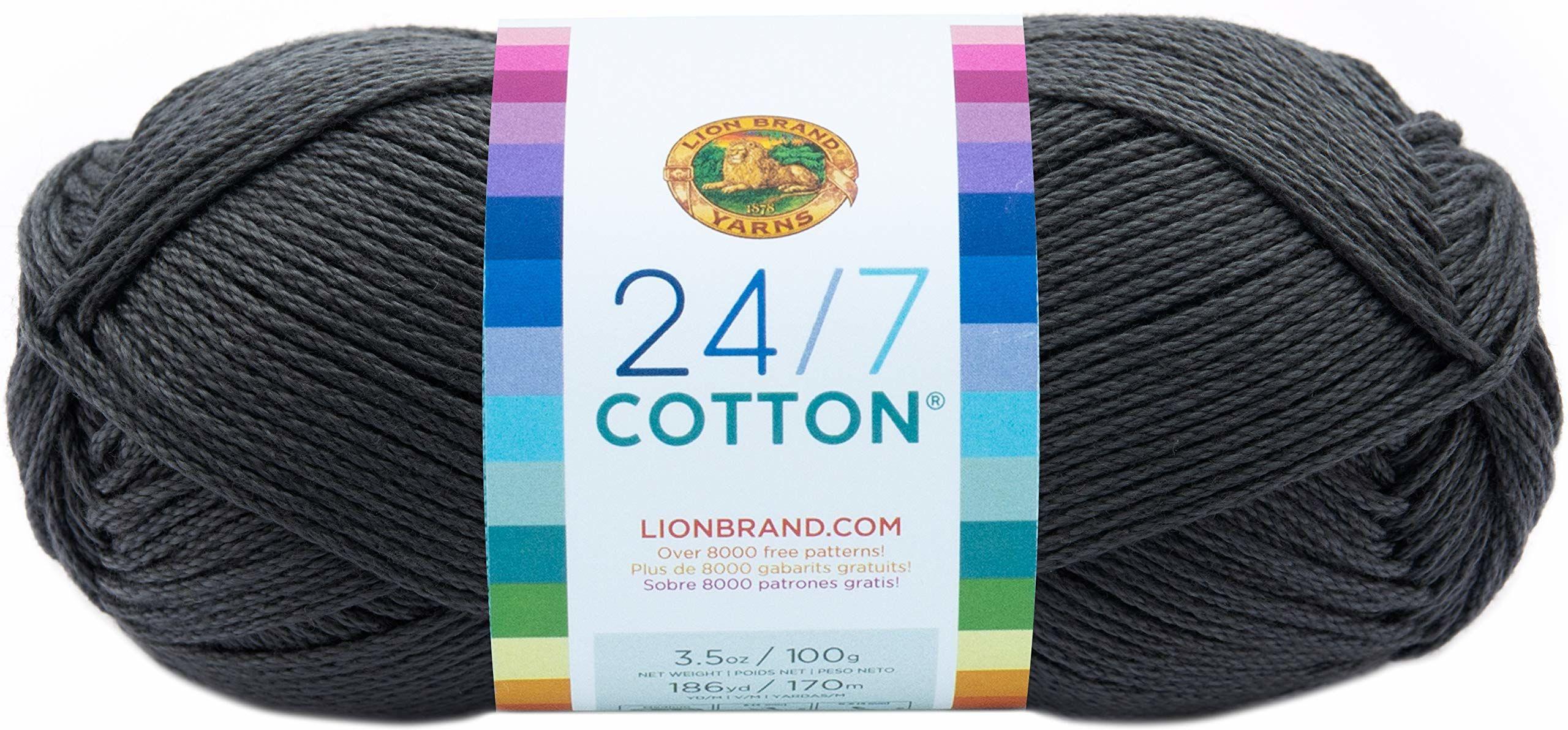 Lion Brand Yarn Company przędza bawełniana, 100% bawełna, węgiel drzewny