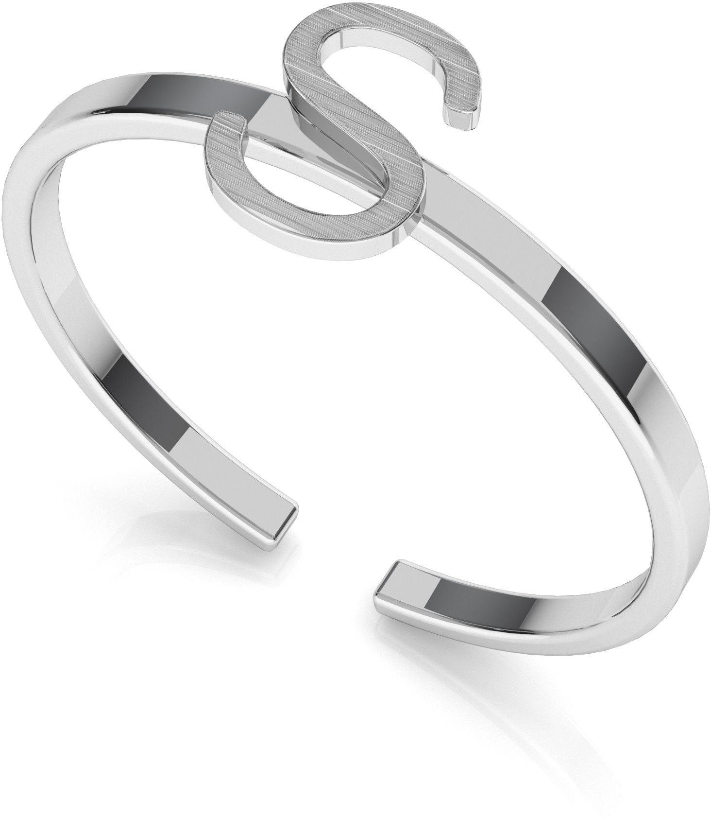 Srebrny pierścionek z literką My RING, srebro 925 : Litera - S, Srebro - kolor pokrycia - Pokrycie platyną