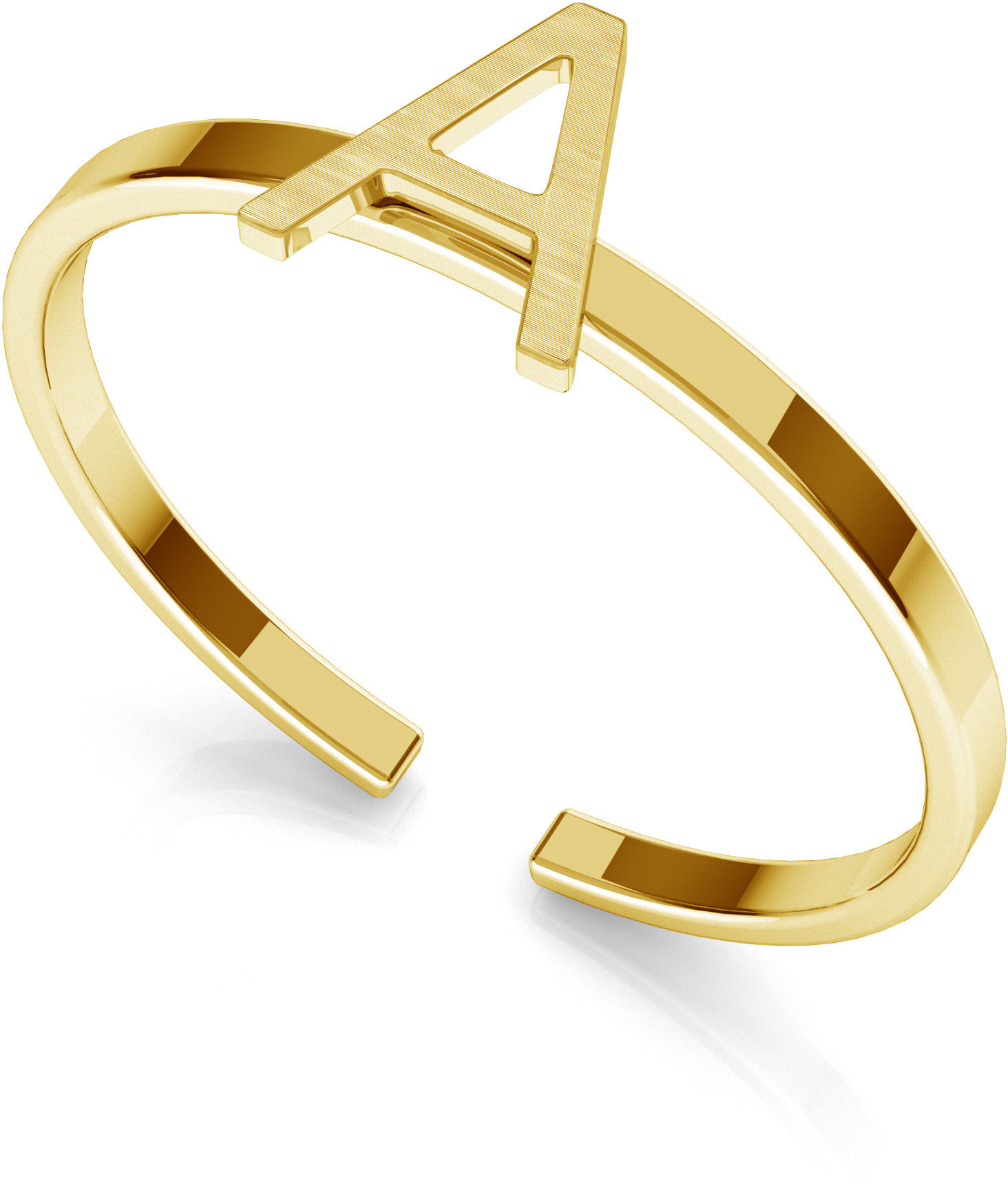 Srebrny pierścionek z literką My RING, srebro 925 : Litera - A, Srebro - kolor pokrycia - Pokrycie żółtym 18K złotem