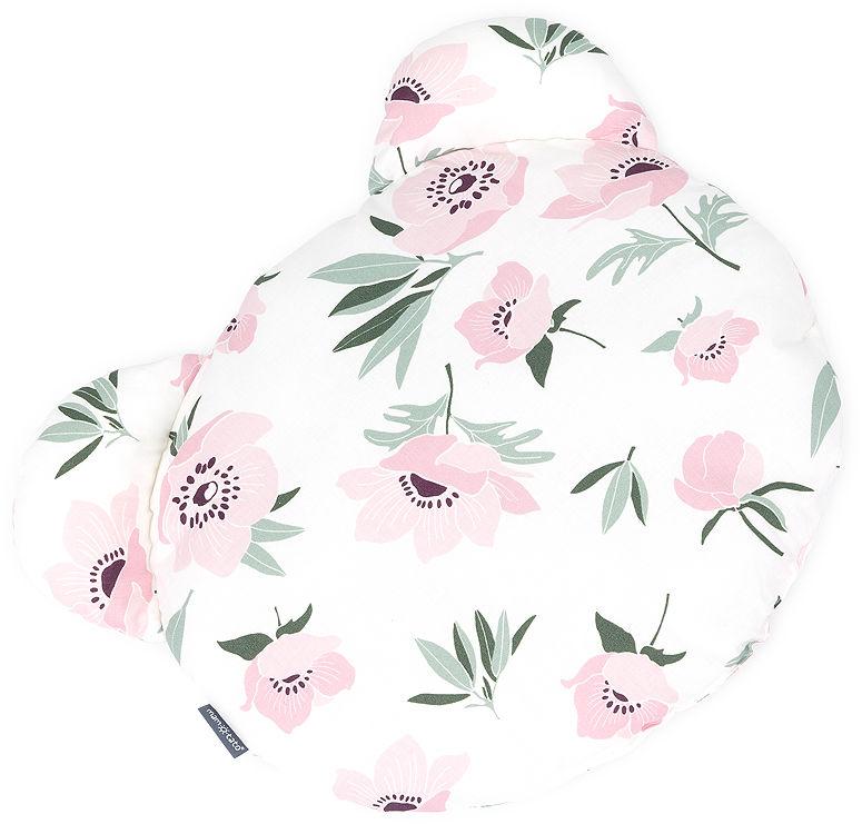 MAMO-TATO Poduszka Miś Bawełna - Kwiaty na ecru