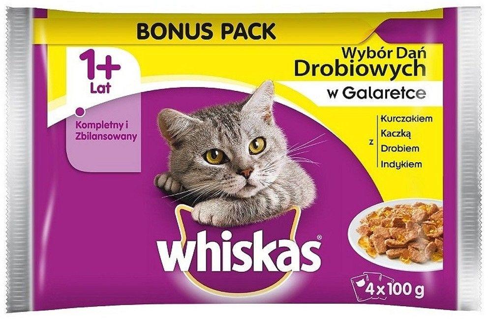 WHISKAS Adult saszetka 4x100g Smaki Drobiowe - mokra karma dla kotów w galaretce (z kurczakiem, z kaczką, z drobiem, z indykiem)