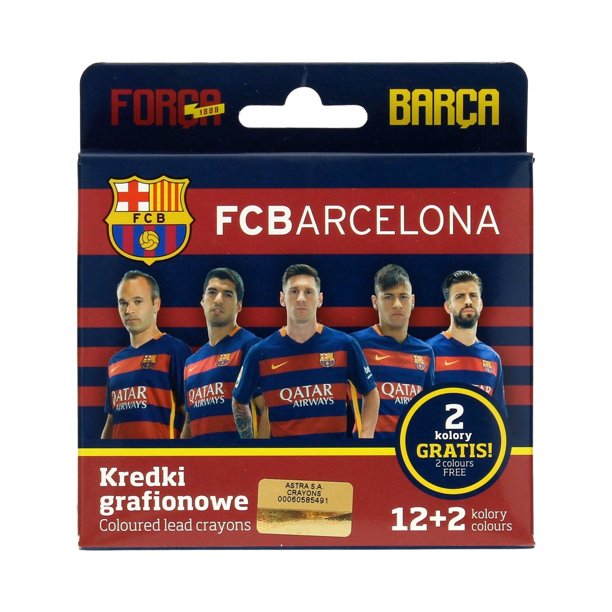 Kredki grafionowe 12kol + 2 kol. gratis FC Barcelona Astra