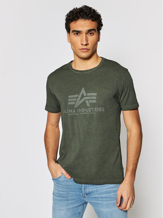 Alpha Industries T-Shirt Basic T Oildye 116515 Zielony Regular Fit