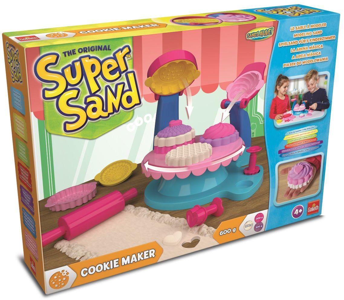 Goliath 83289 - Super Sand Cookie Maker, kolorowe ciasteczka z piasku do zabawy, wszechstronne formy do pieczenia dla małych mistrzowskich wypieków, wyczarowują wspaniałe pyszności, od 4 lat
