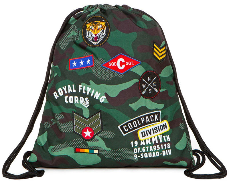 CoolPack - SPRINT Worek sportowy Camo Green Badges 73110