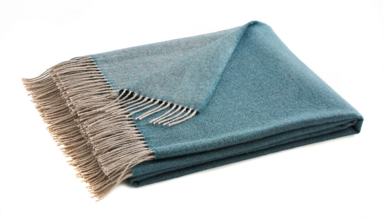 Pled z wełny merynosa Blanc Des Vosges Katmandou Bleu Paon - Bleu Paon