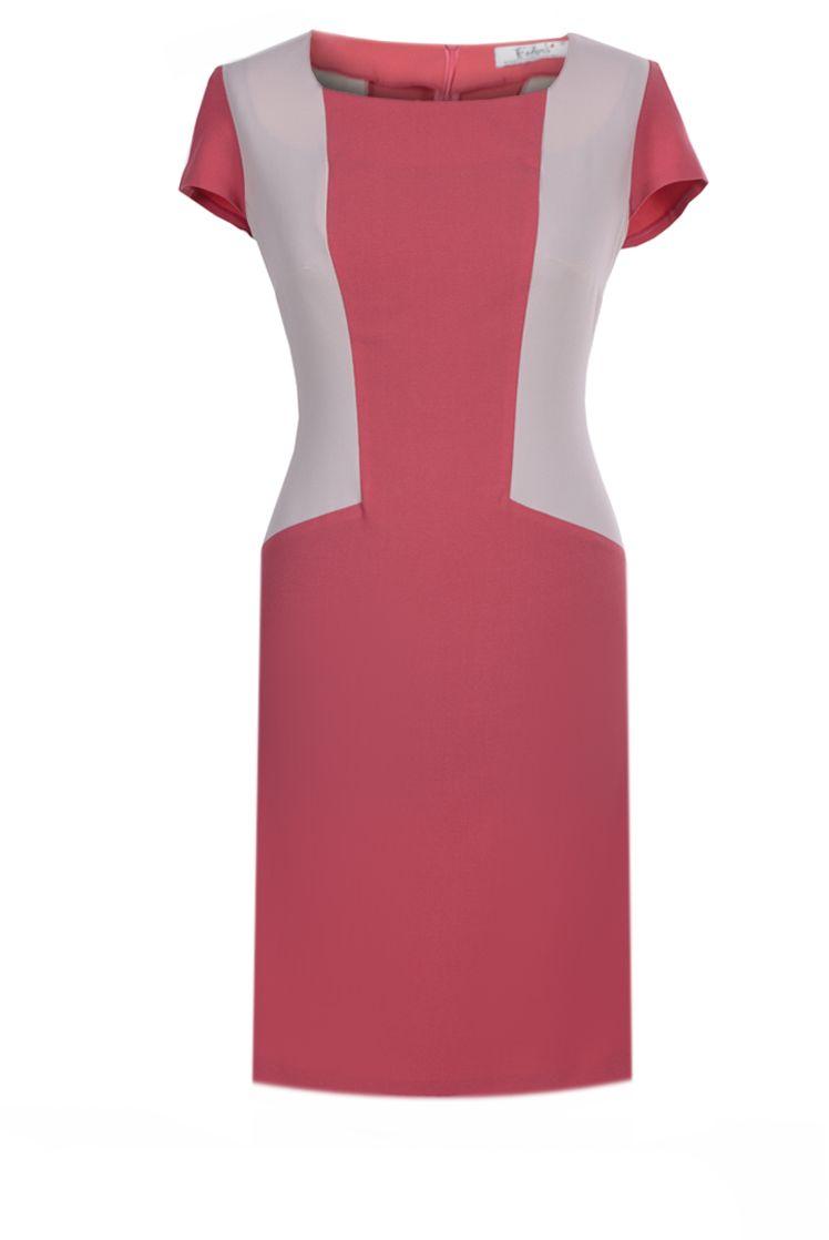 Sukienka FSU347 KORALOWY BEŻOWY