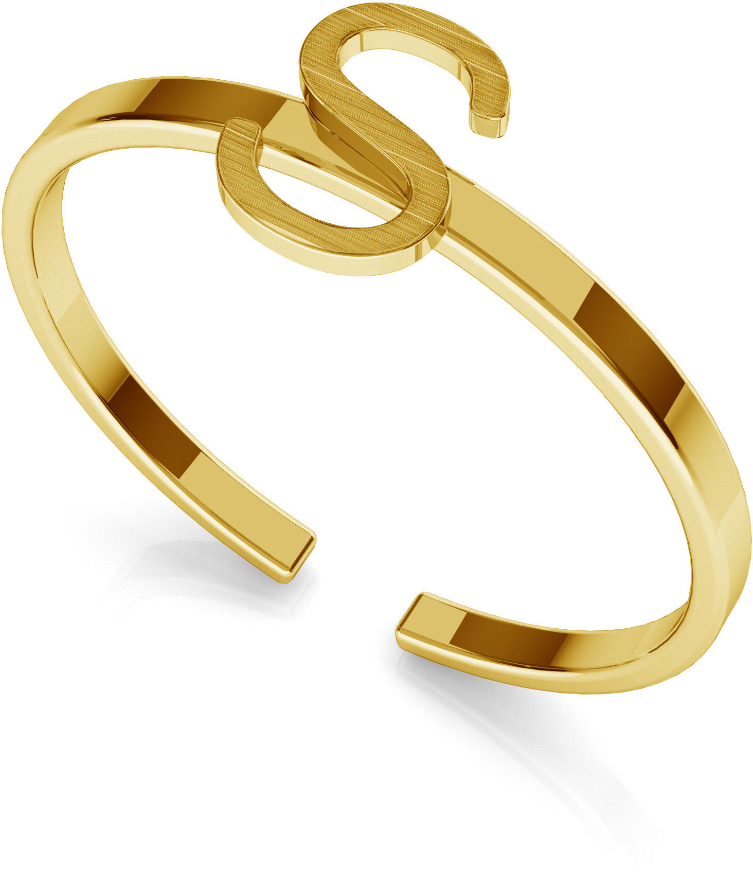 Srebrny pierścionek z literką My RING, srebro 925 : Litera - S, Srebro - kolor pokrycia - Pokrycie żółtym 18K złotem