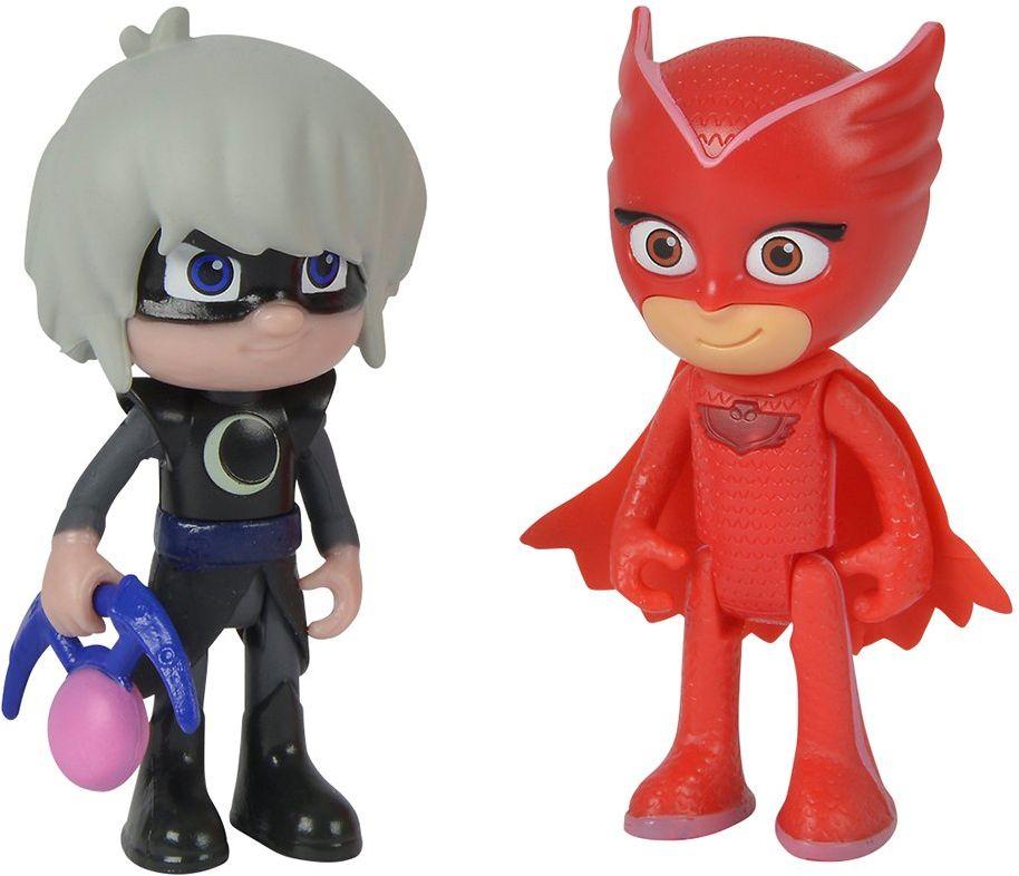 Simba 109402150 - PJ Masks zestaw figurek sowa i Luna Girl / pidżama bohater i złodziejska skarba / sowa ze światłem / figurki akcji / ruchome / wielkość 8 cm, dla dzieci od 3 roku życia