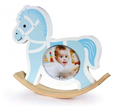 Ramka 10x15 dekoracyjna niebieska Koń na biegunach