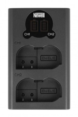 Ładowarka Newell LCD-USB-C EN-EL15 dwukanałowa (Nikon D500, D600, D610, D750, D800, D810, D7000 - D7200)