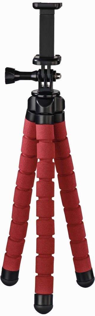 Hama Flex smartfon/kamera sportowa, 3 nogi, czarny, czerwony statyw  statyw (smartfon/kamera sportowa, 3 nogi, 26 cm, czarny, czerwony, 9 cm, aluminium)