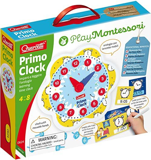 Quercetti 0624 Quercetti-0624 Play Montessori Erste Clock, zegar gra edukacyjna