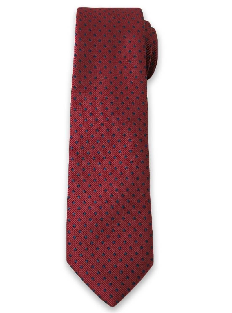 Stylowy Krawat Męski w Granatowe Groszki, Kropki - 6 cm - Alties, Bordowy KRALTS0092
