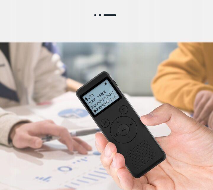 Profesjonalny Rejestrator Dźwięku Dyktafon 8GB + Współpraca z PC + Menu PL + Duży Ekran + Słuchawki.