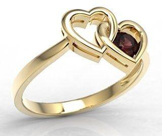 Pierścionek w kształcie dwóch serc z żółtego złota z granatem lp-52z