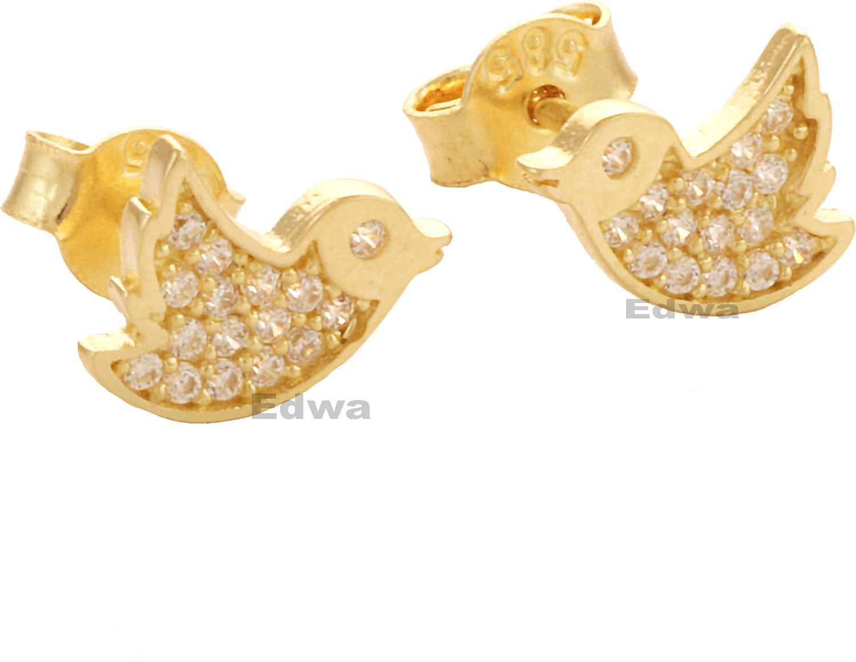 Kolczyki złote Ptaki z cyrkoniami pr.585