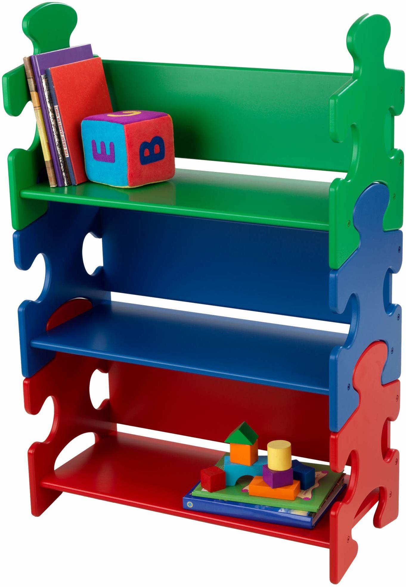 KidKraft regał na książki drewniany dla dzieci, MDF, kolorowy, 84,00 x 30,00 x 74,00 cm