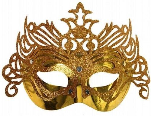 Maska karnawałowa z ornamentem, złota