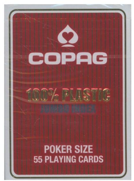 Karty do gry Copag 100% Plastic Poker size Jumbo Index czerwone ZAKŁADKA DO KSIĄŻEK GRATIS DO KAŻDEGO ZAMÓWIENIA