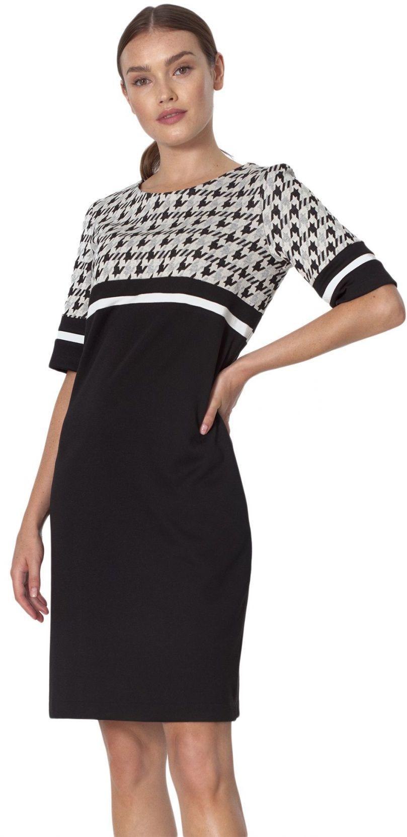 Prosta sukienka z kieszeniami we wzór pepitko - S161