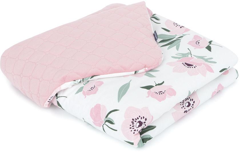 MAMO-TATO Kocyk dla dzieci i niemowląt 75x100 LUX Velvet pikowany dwustronny Kwiaty na ecru / różany
