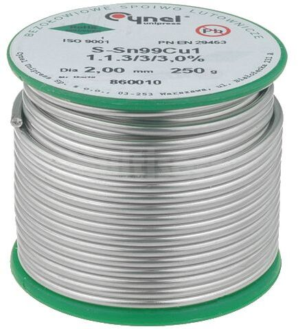 Tinol bezołowiowy Sn-99,3% Cu-0,7% 2mm/0,25kg Cynel