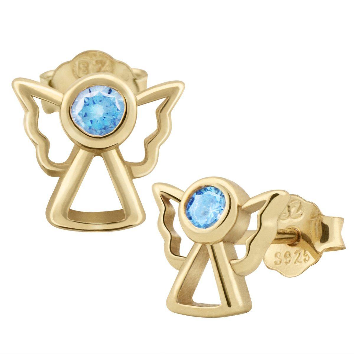 Pozłacane kolczyki aniołki z niebieską cyrkonią pr. 925