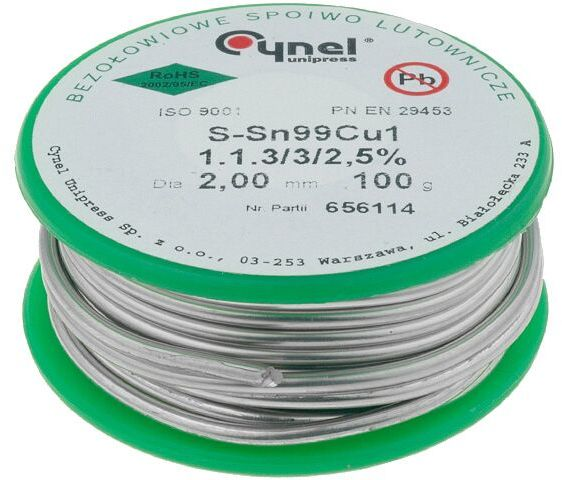 Tinol bezołowiowy Sn-99,3% Cu-0,7% 2mm/0,1kg Cynel