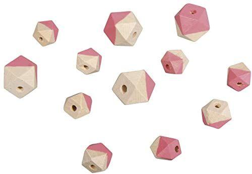 Rayher 12201265 drewniane koraliki diamentowe, 4 szt. ø2 cm, 8 szt. ø1,5 cm, SB-Btl 12S
