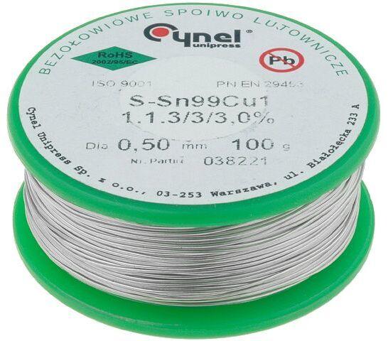 Tinol bezołowiowy Sn-99,3% Cu-0,7% 0,5mm/0,1kg Cynel