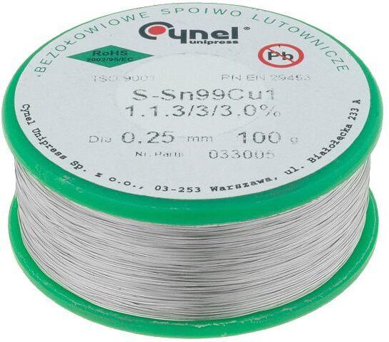 Tinol bezołowiowy Sn-99,3% Cu-0,7% 0,25mm/0,1kg Cynel