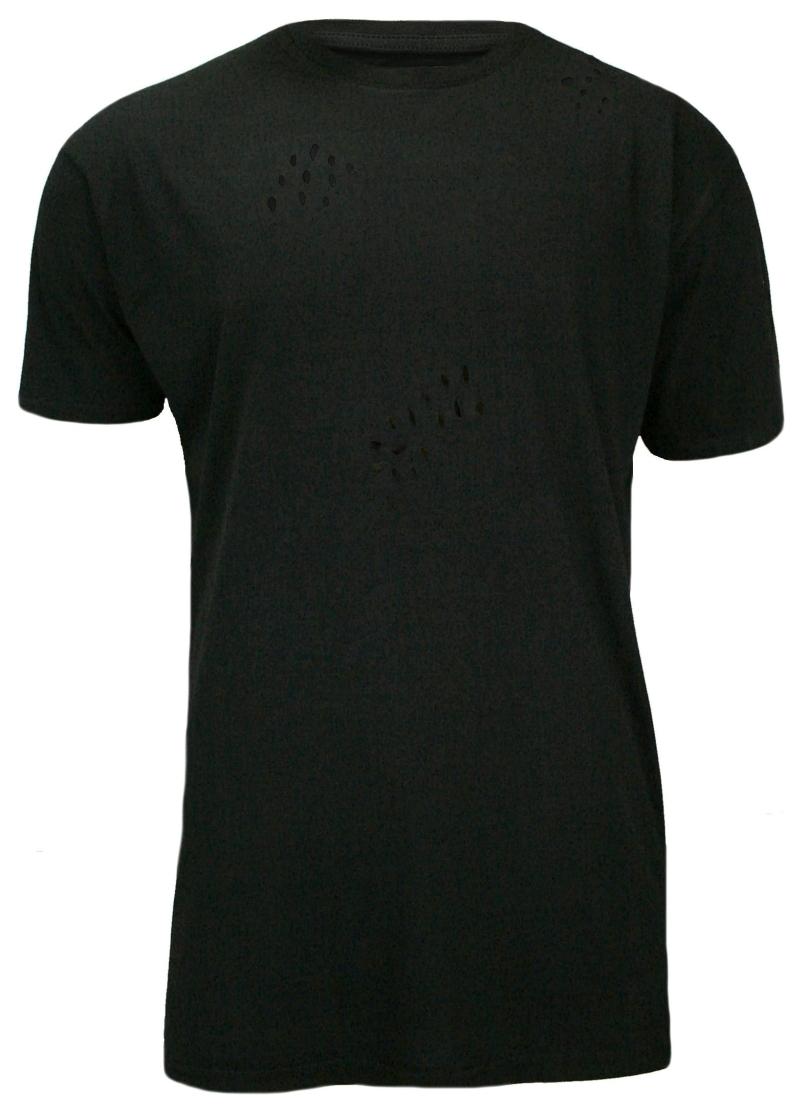 Czarny, Przedłużony T-Shirt (Koszulka) z Dziurami, 100% BAWEŁNA, Brave Soul, Męski TSBRSSS17BENJIblack