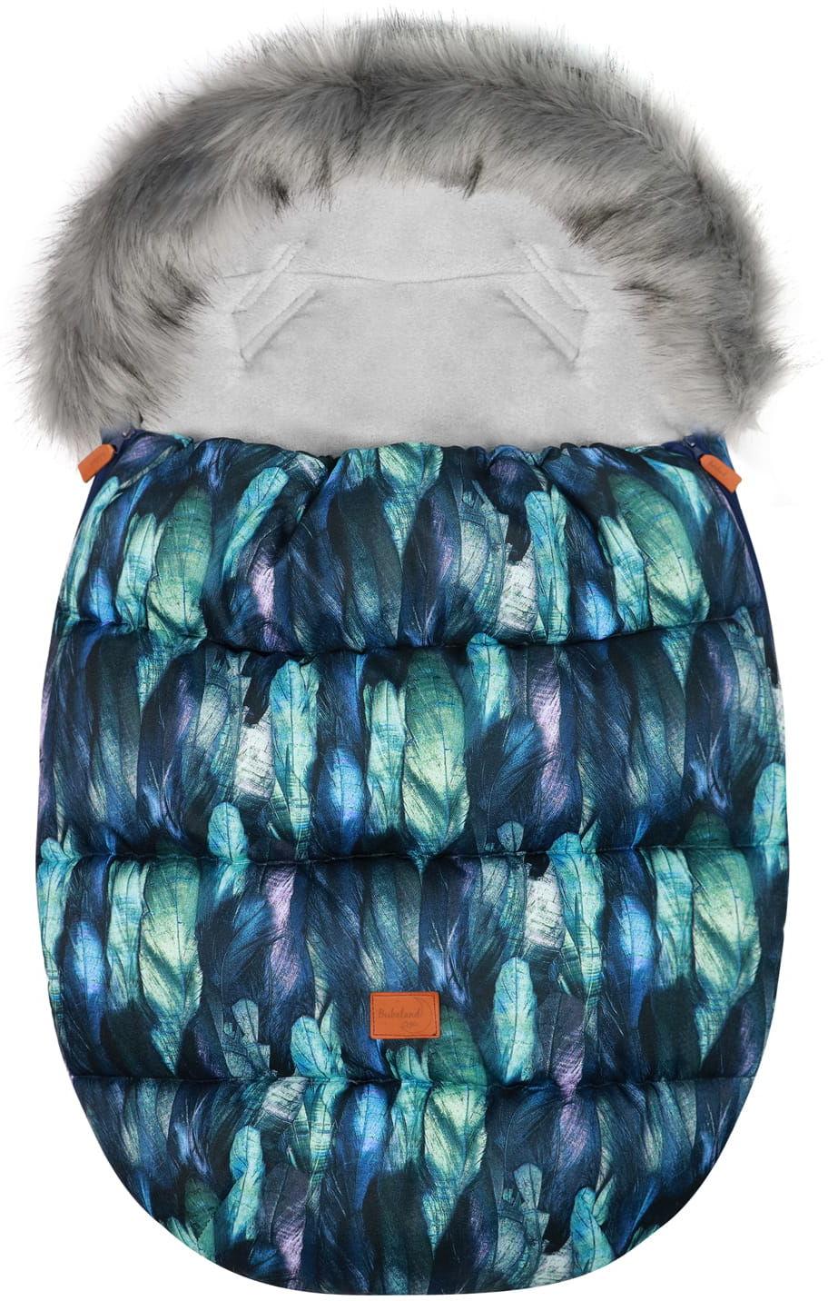"""Śpiworek do wózka z futerkiem do wózka spacerowego zimowy """"Eskimo Blue Feather"""""""