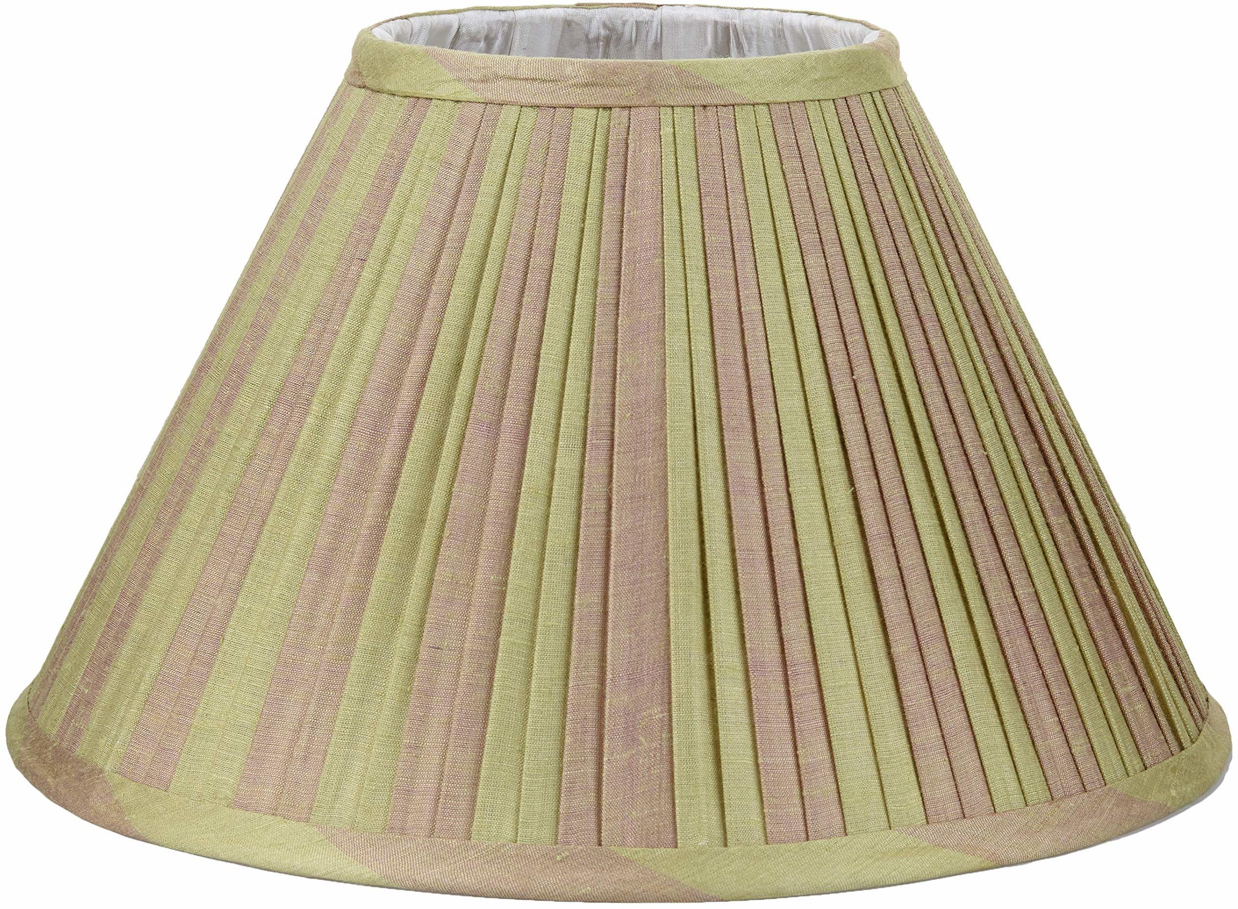 Better & Best 0213358  Klosz lampy z jedwabiu, tabela wąska, 35 cm, dwukolorowe paski szarobrązowe i zielone