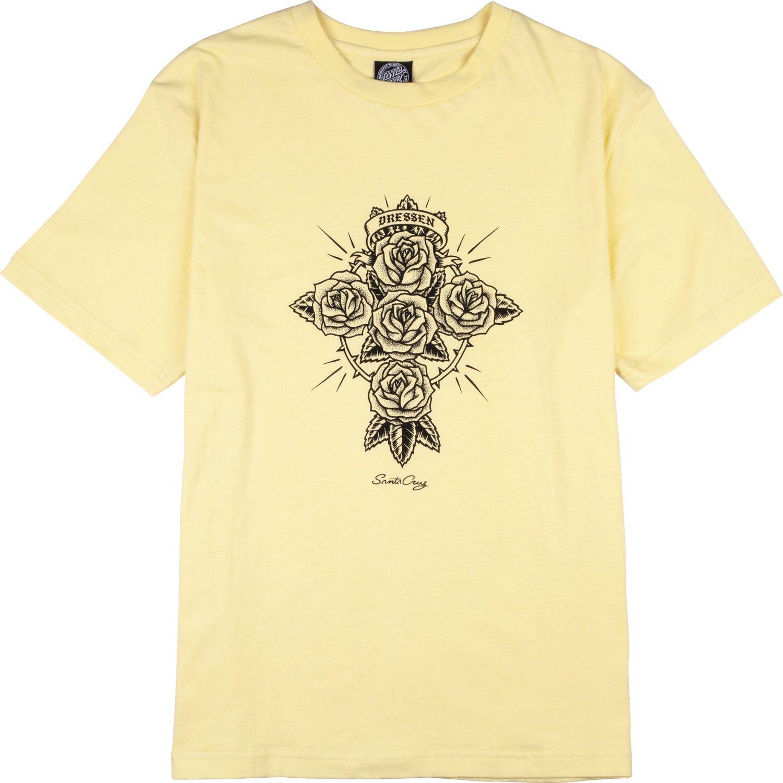 t-shirt damski SANTA CRUZ DRESSEN ROSE CROSS TEE Buttercup