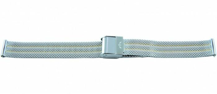 Bransoleta BISSET BM-105 mesh srebrno-złota 14mm