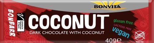 Baton kokosowy bez laktozy bezglutenowy BIO 40 g Bonvita