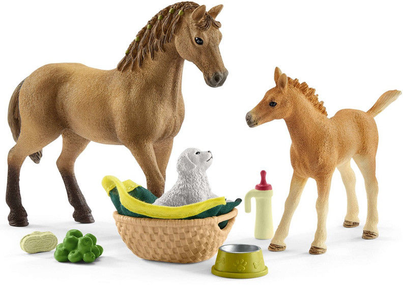 Schleich - Zestaw Pielęgnacyjny Quarter koń + źrebię 42432
