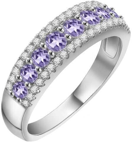 TAYLOR Srebrny pierścionek obrączka tanzanity 1ct.